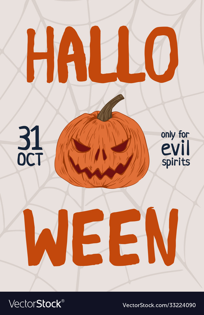 Colorful hand drawn halloween poster with place