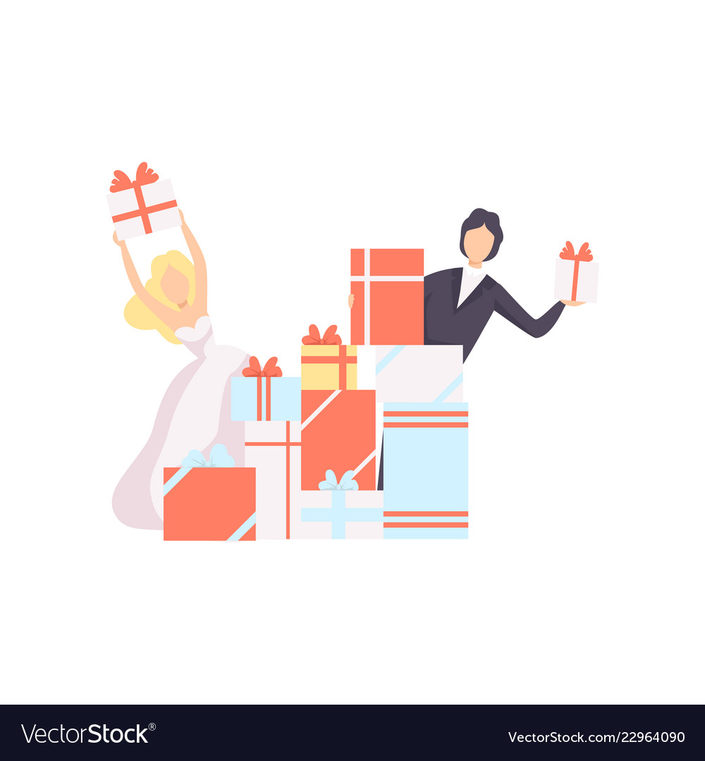 Couple newlyweds with gift boxes