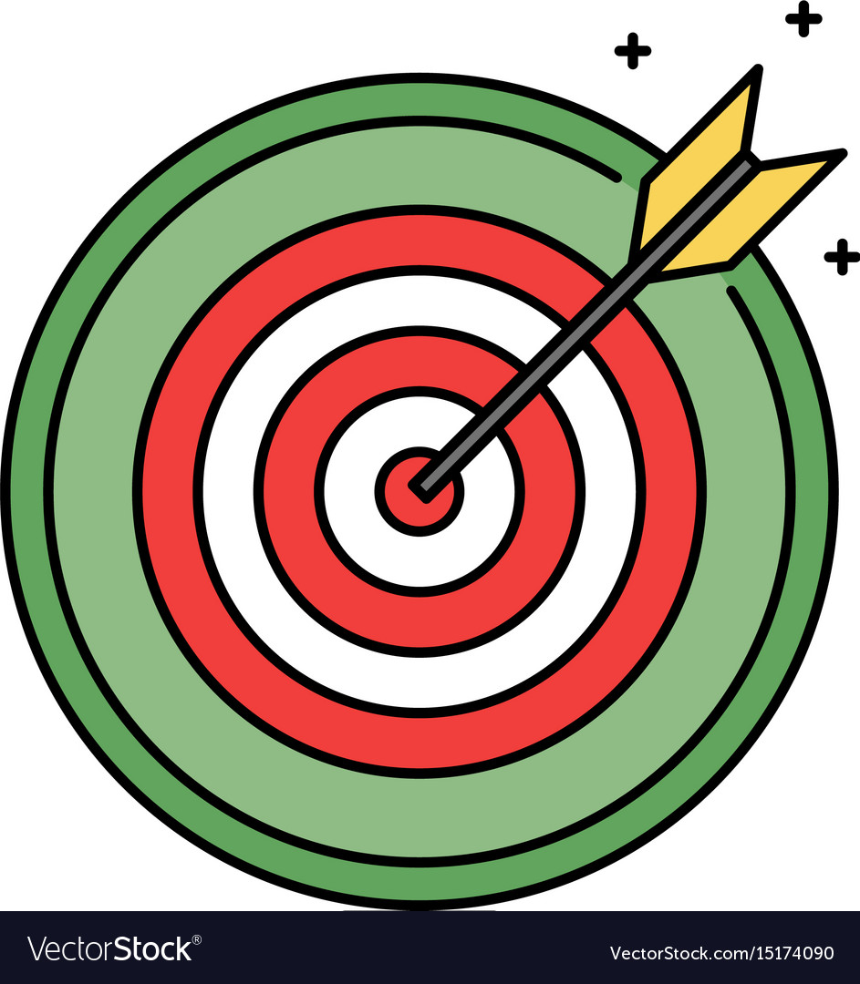 Dartboard with bullseye retro circle icon success