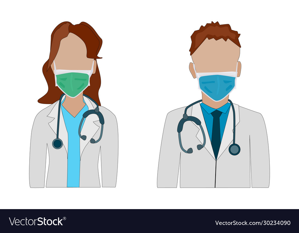 Doctors in medical mask isolated on white