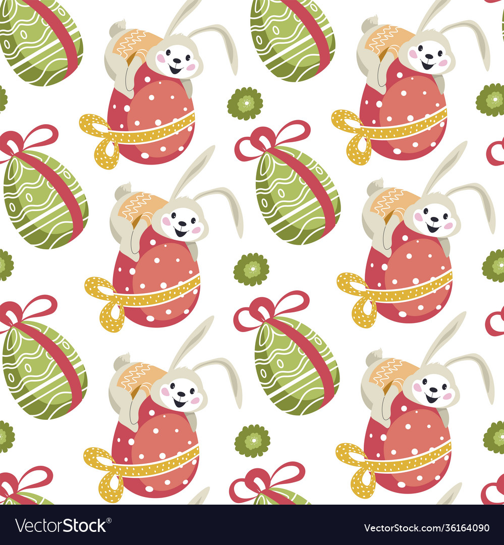 Easter bunny sitting on decorated egg pattern
