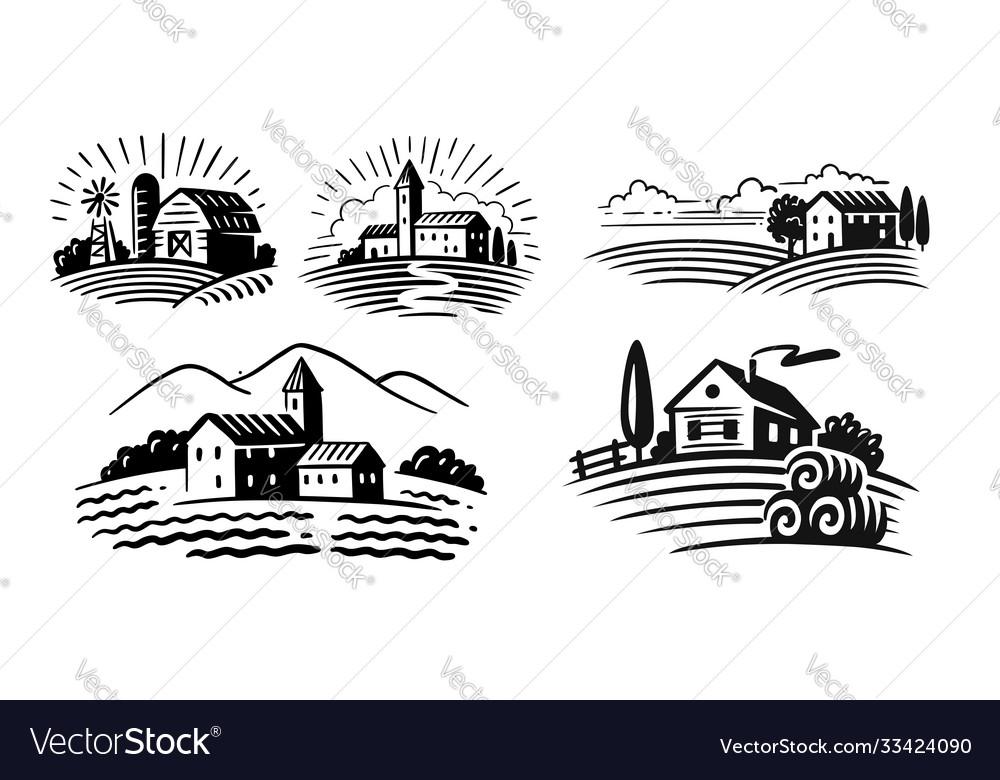 Farm emblem on white background italian style