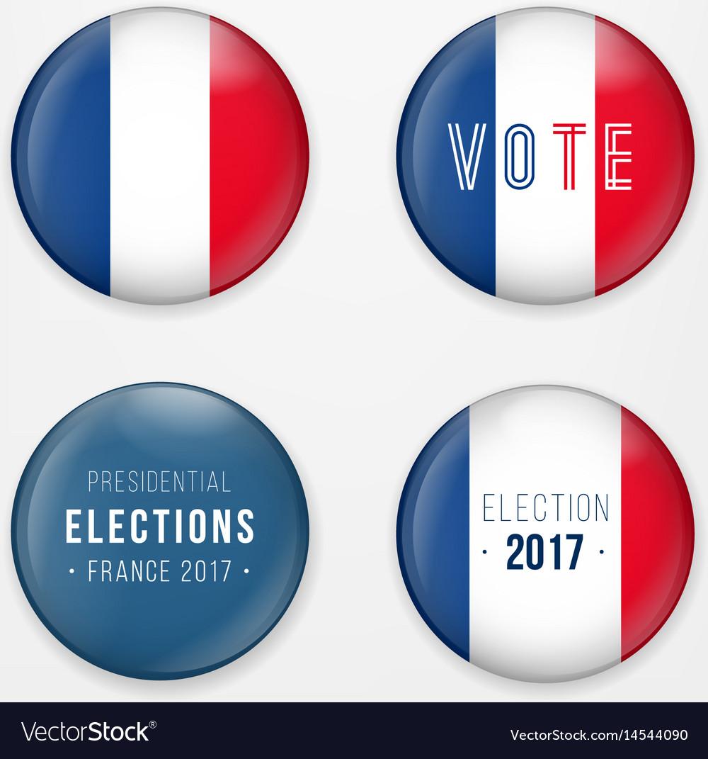 France presidential election voting badges set a
