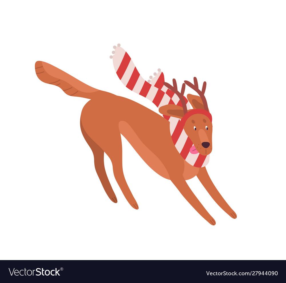 Funny christmas dog flat cute