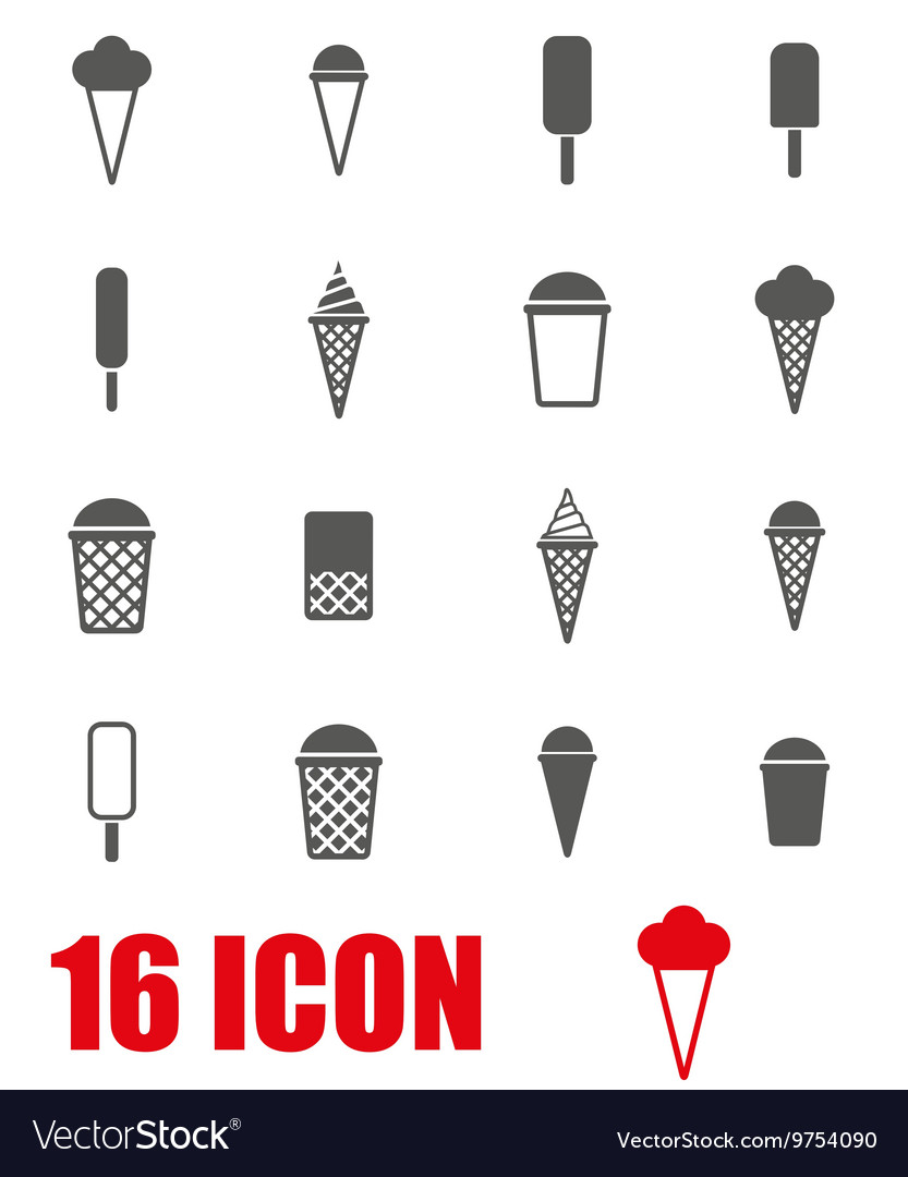 Grey ice cream icon set