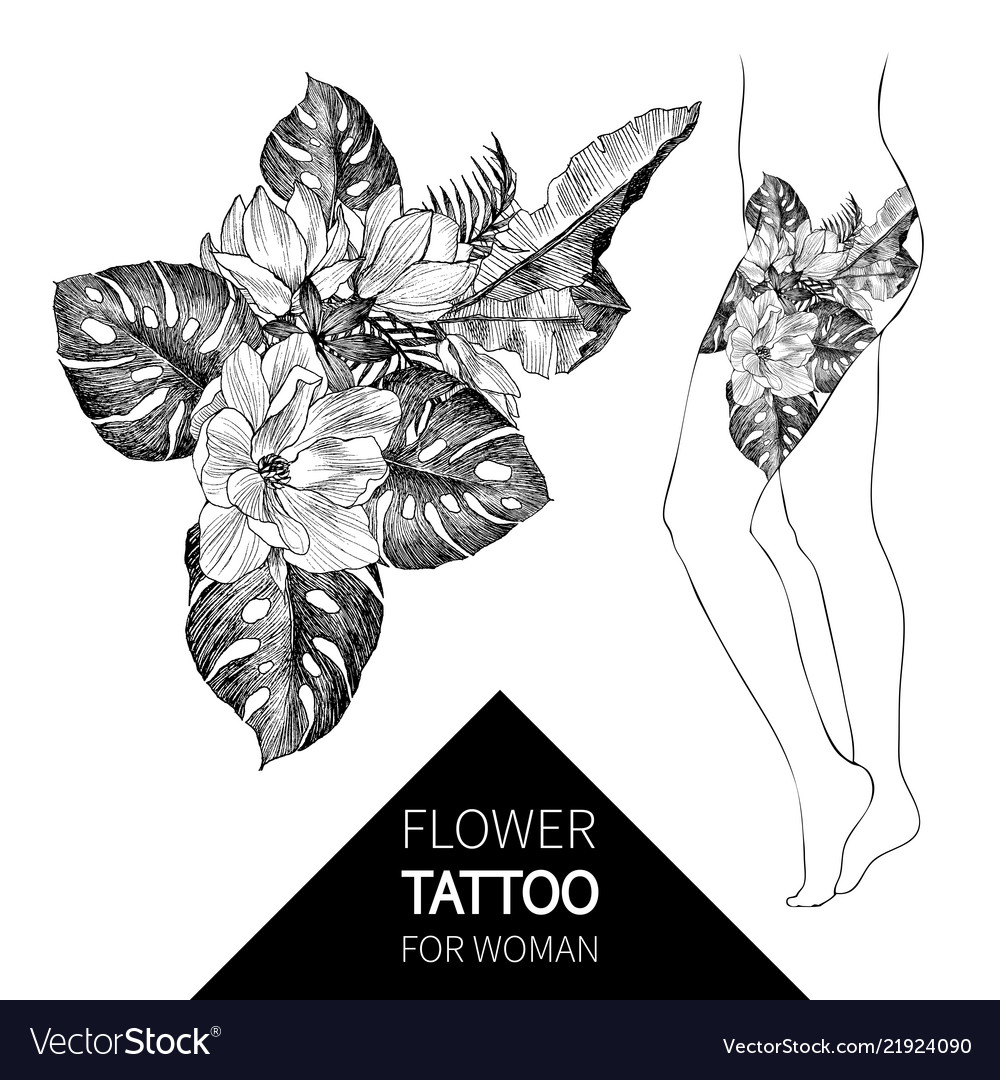 Hand Drawn Flowers And Leaves Tropical Plants Vector Image About 0% of these are decorative flowers & wreaths. vectorstock