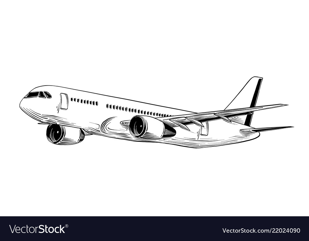 Hand drawn sketch aircraft in black isolated on