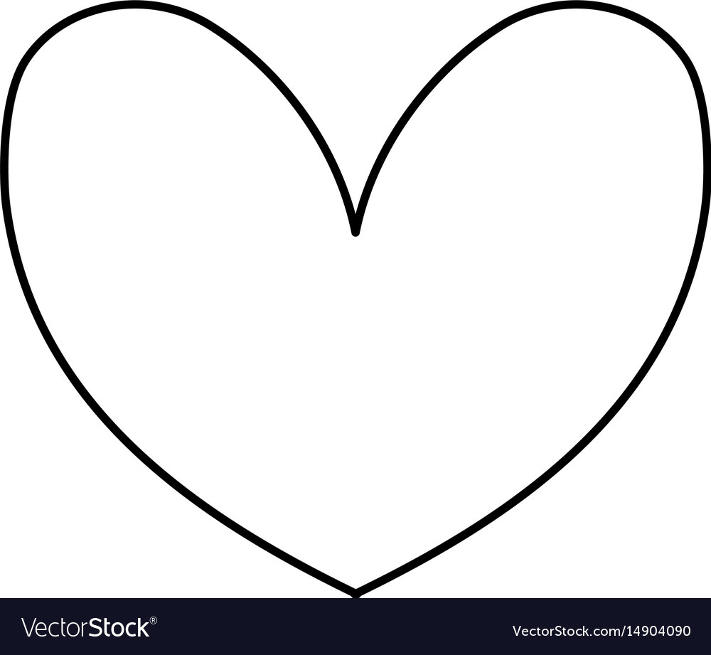 Line Cute Heart To Love Symbol Design Royalty Free Vector