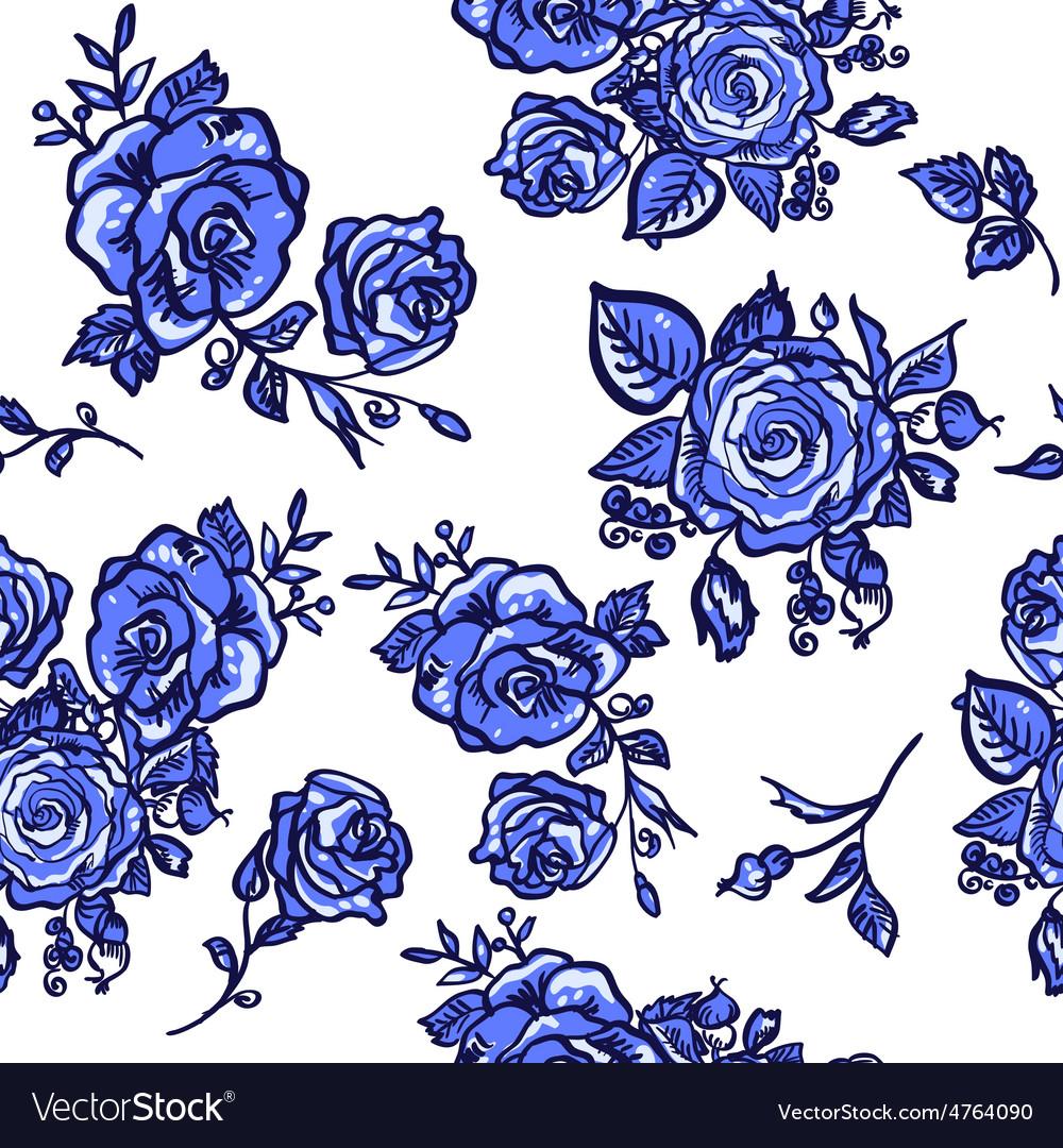Pattern blue rose