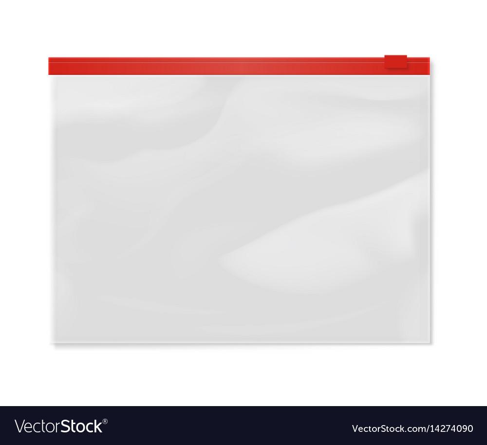 Plastic file bag zipper 3d model vector image