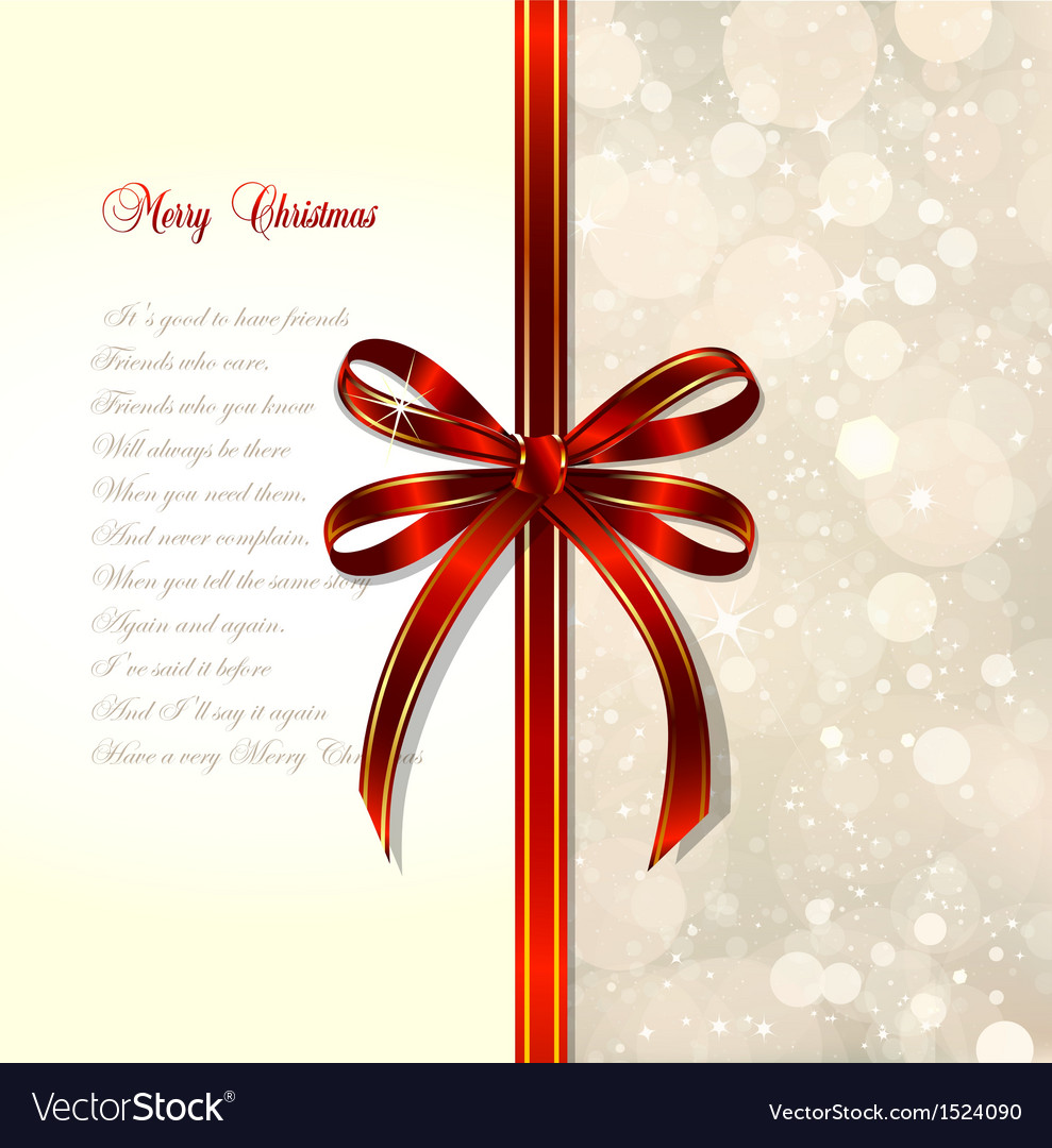Red bow on a magical Christmas over vector image