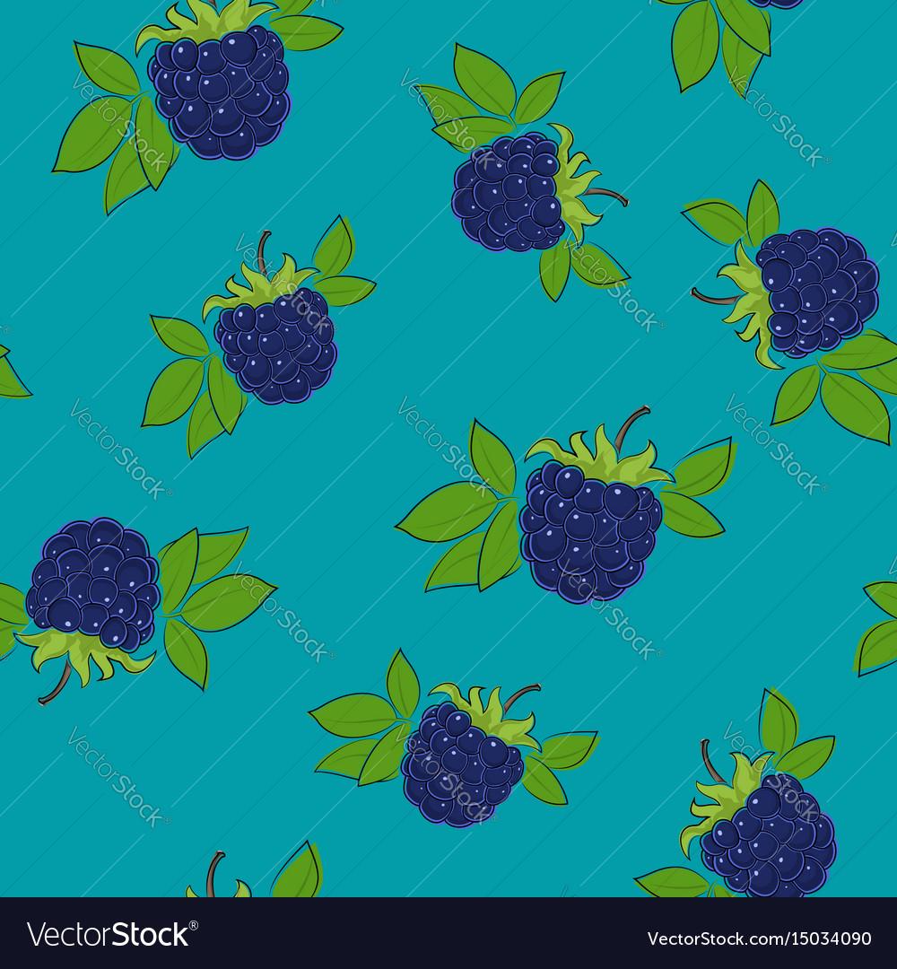 Seamless pattern blackberry on azure background