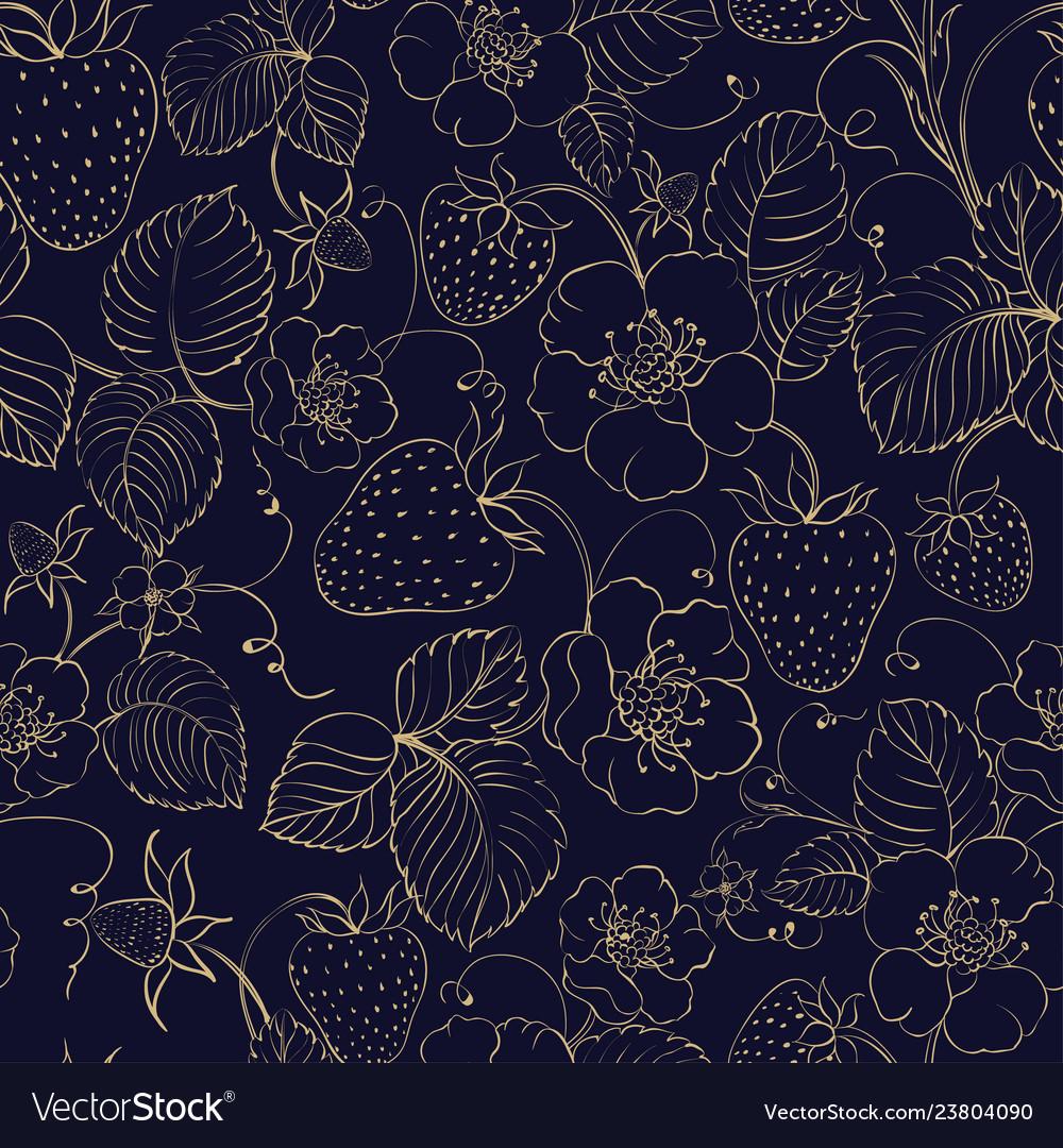Seamless pattern golden strawberry on dark
