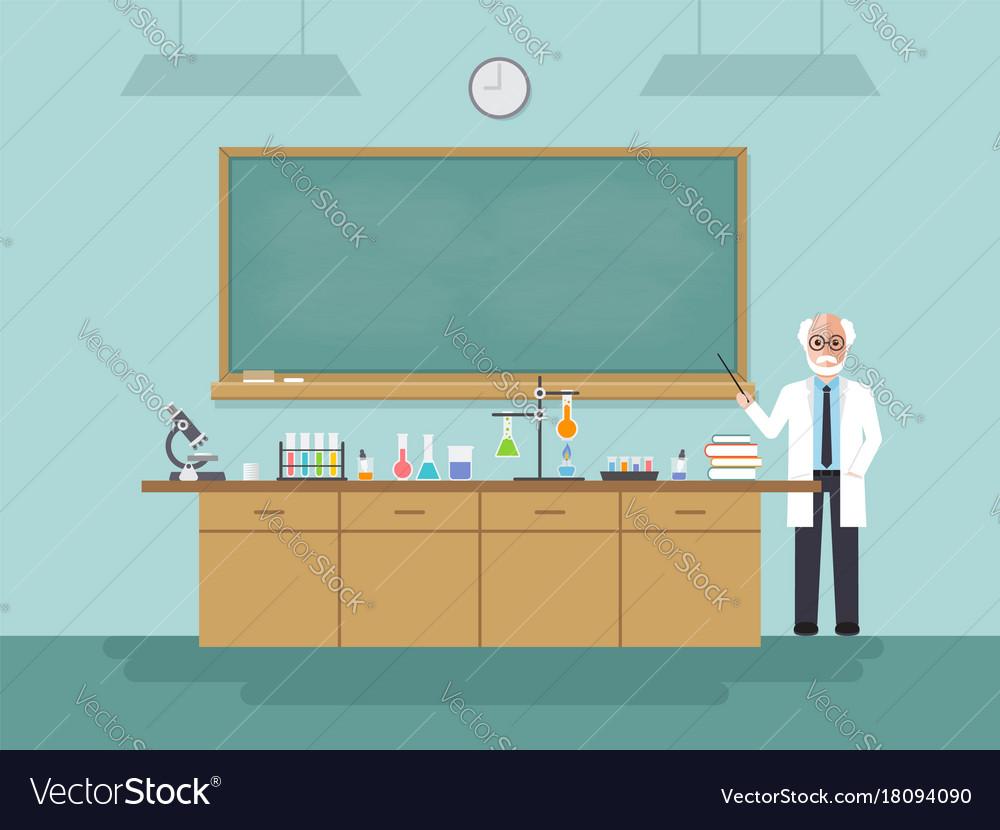 Senior science teacher teaching student in