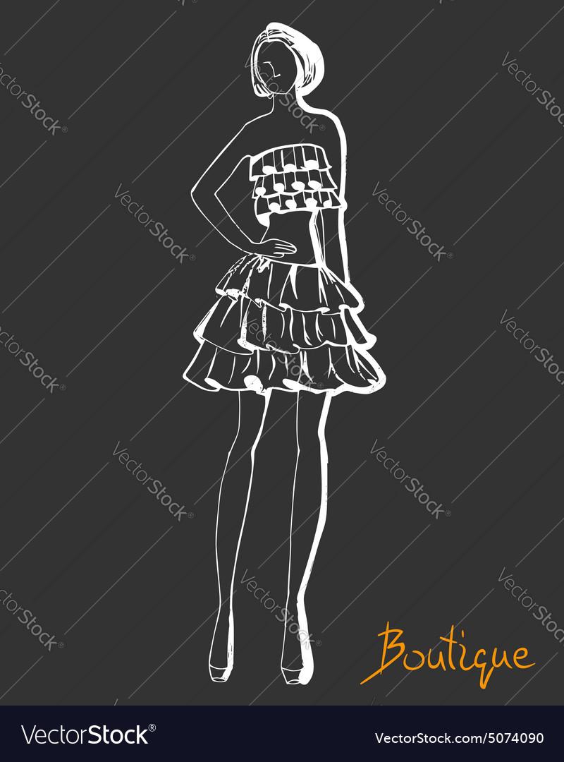 Stylized fashion model figure