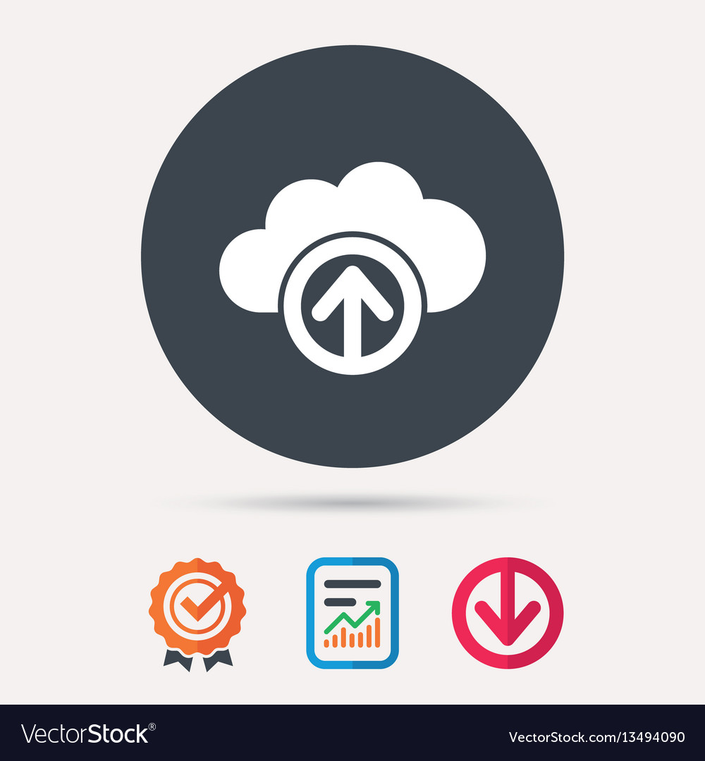 Upload from cloud icon data storage sign