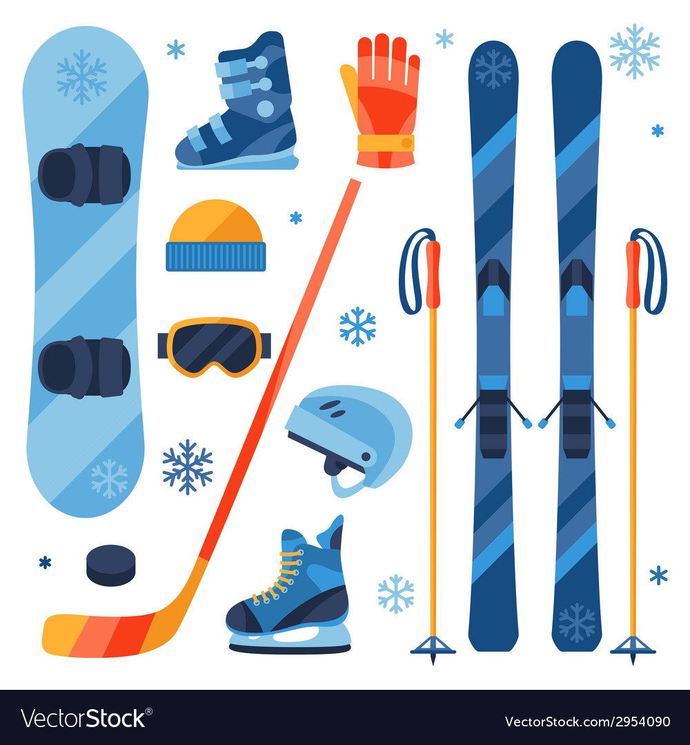 Winter sports equipment icons set in flat design