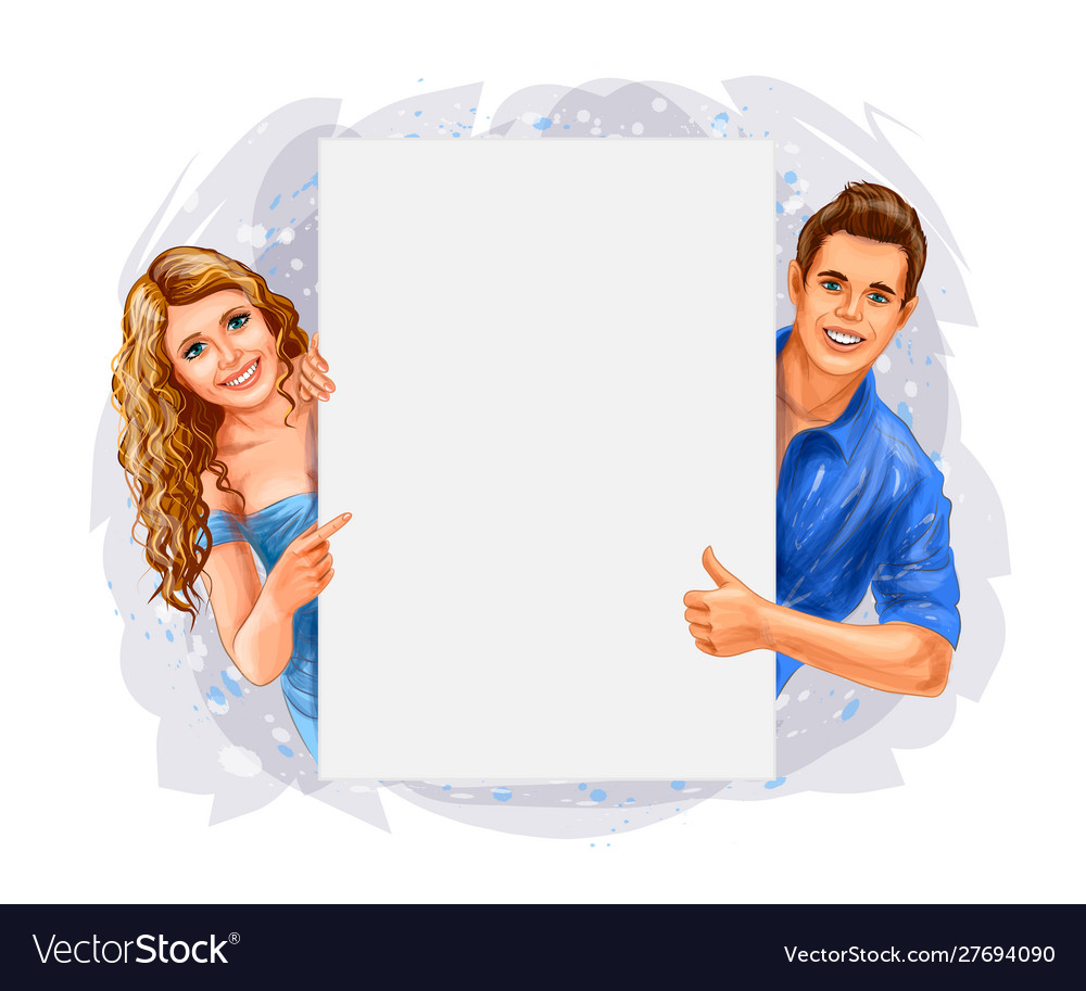 Woman and man holding a poster on white background
