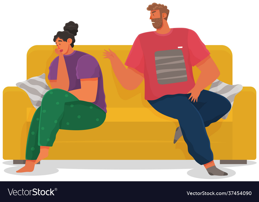 Young couple sitting on couch quarreling isolated