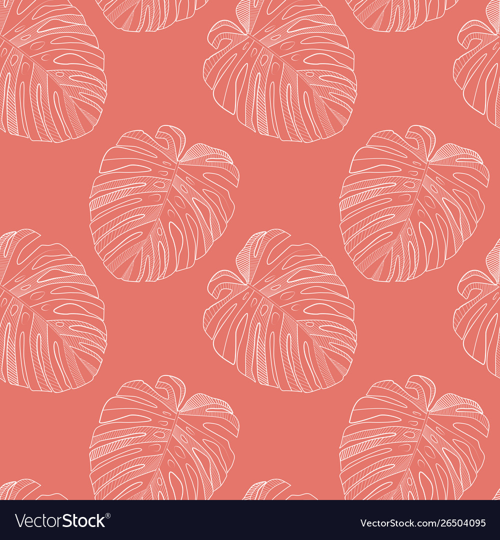 Abstract tropical monstera leaf seamless pattern