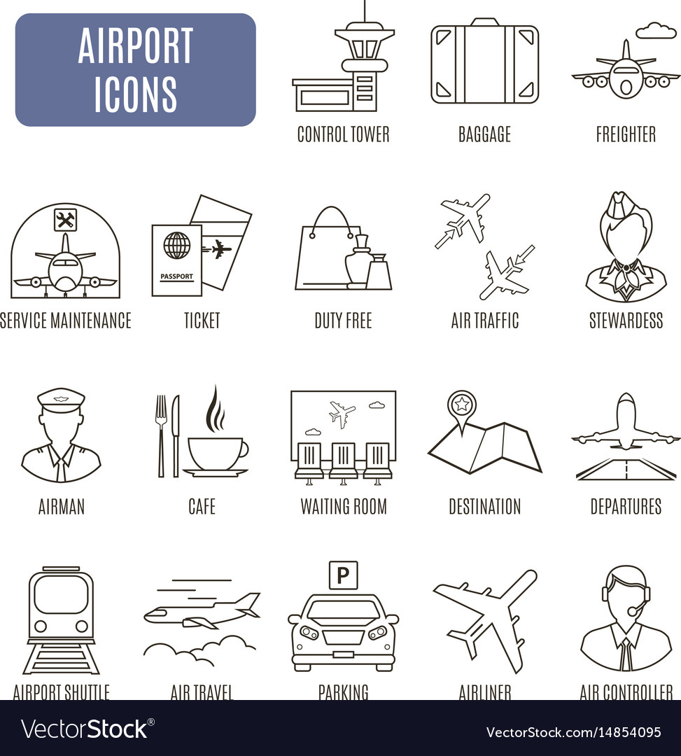 Airport icons set of pictograms