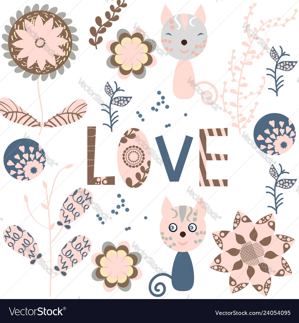Floral card with with an inscription love lovely