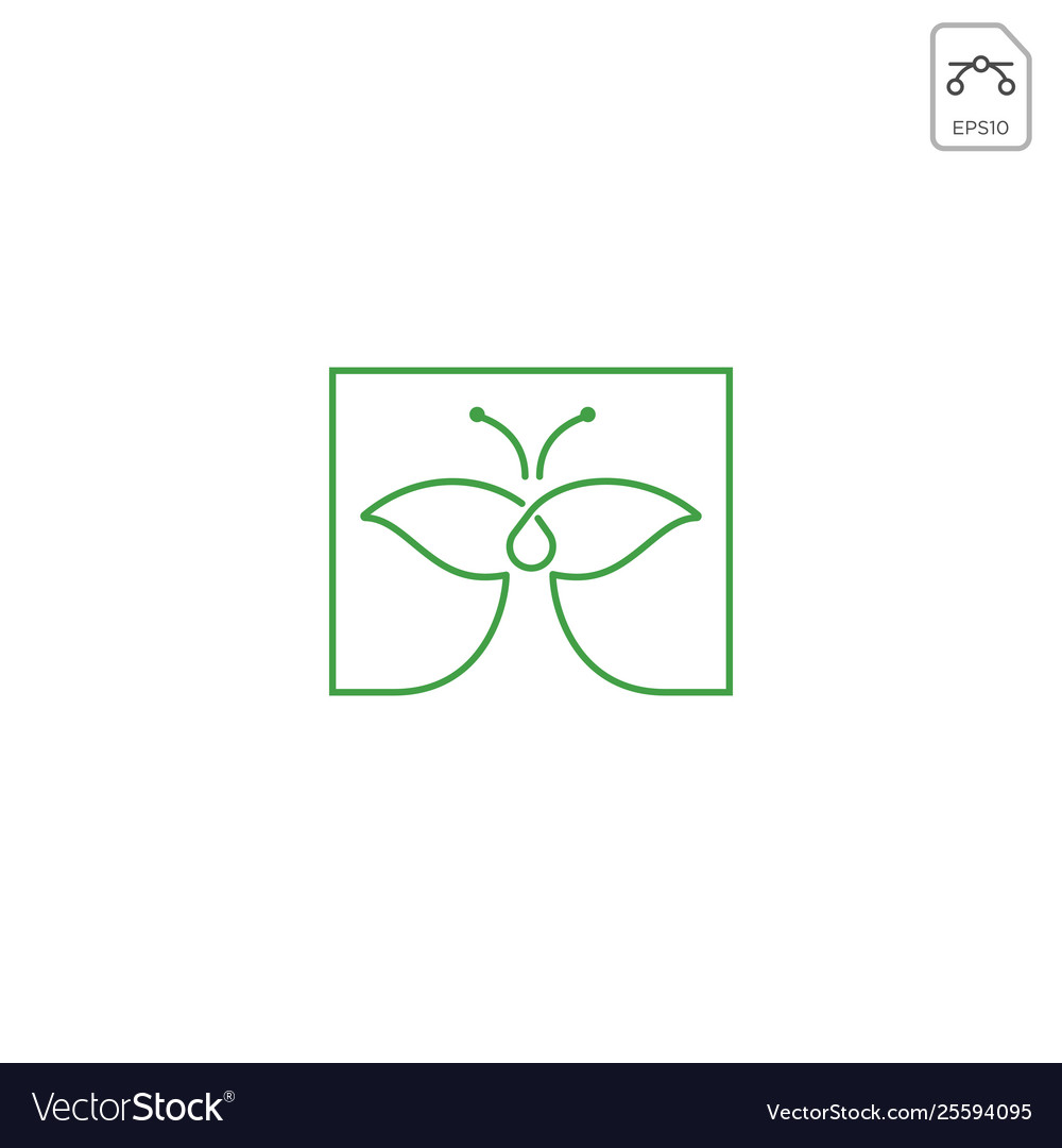 Leaf butterfly logo design icon element isolated
