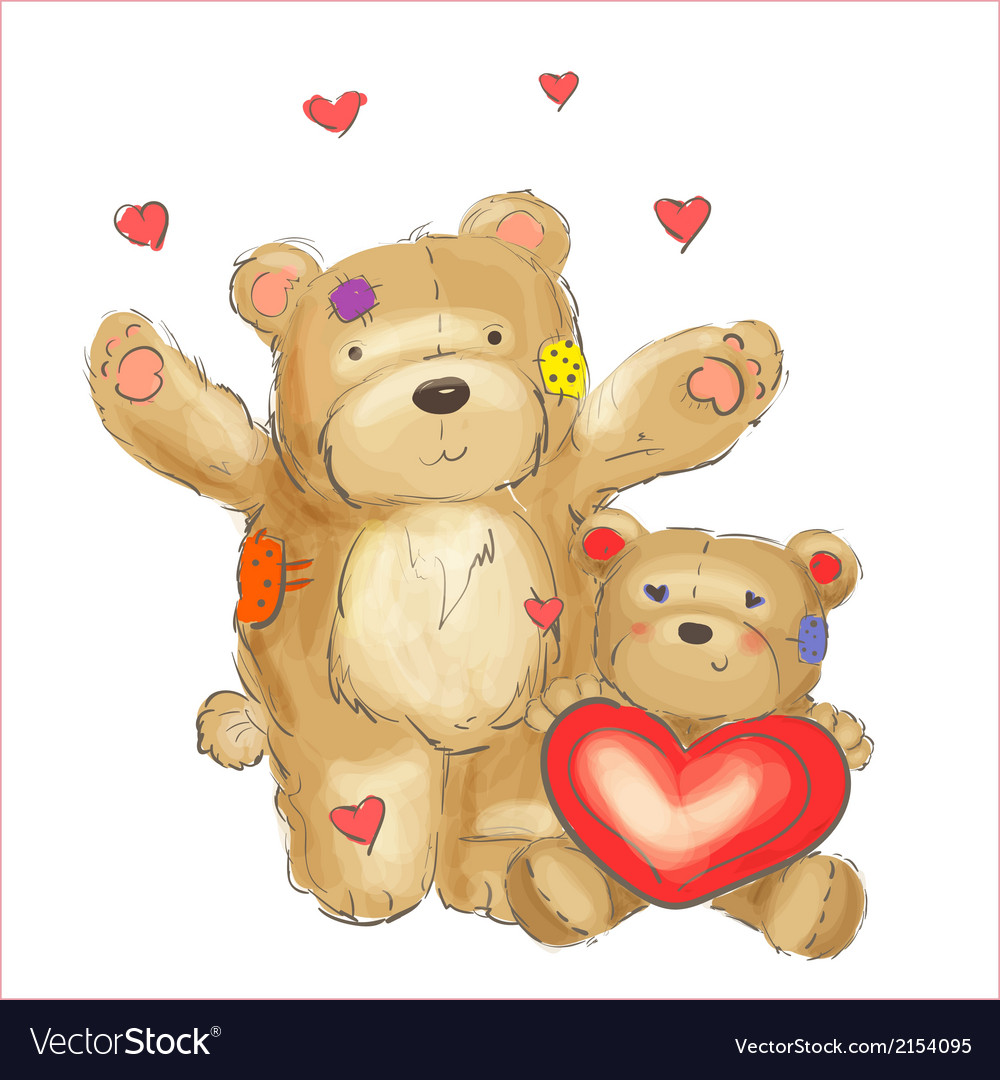 Lovely bears with hearts sketch