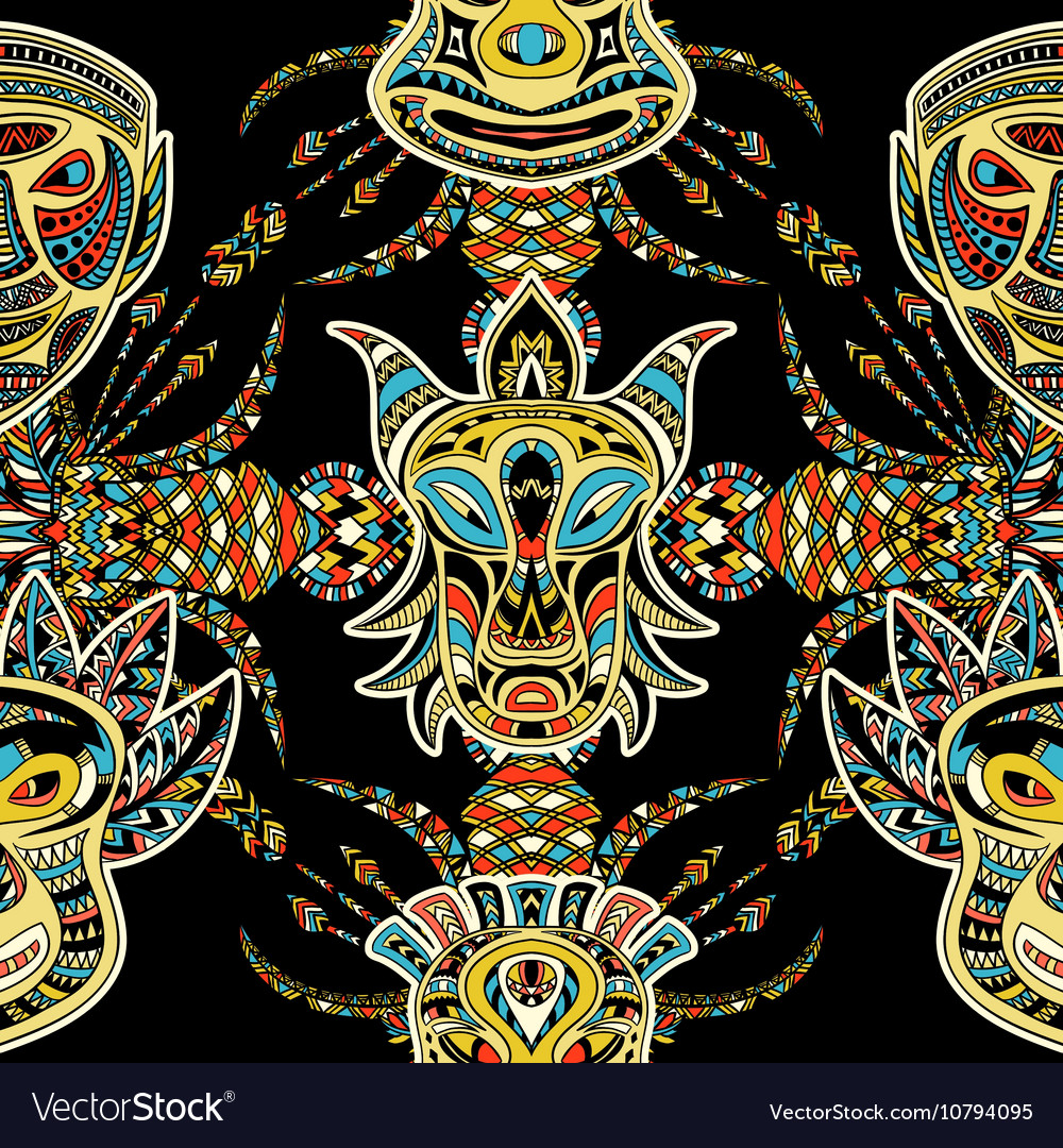 Pattern with tribal mask vector image