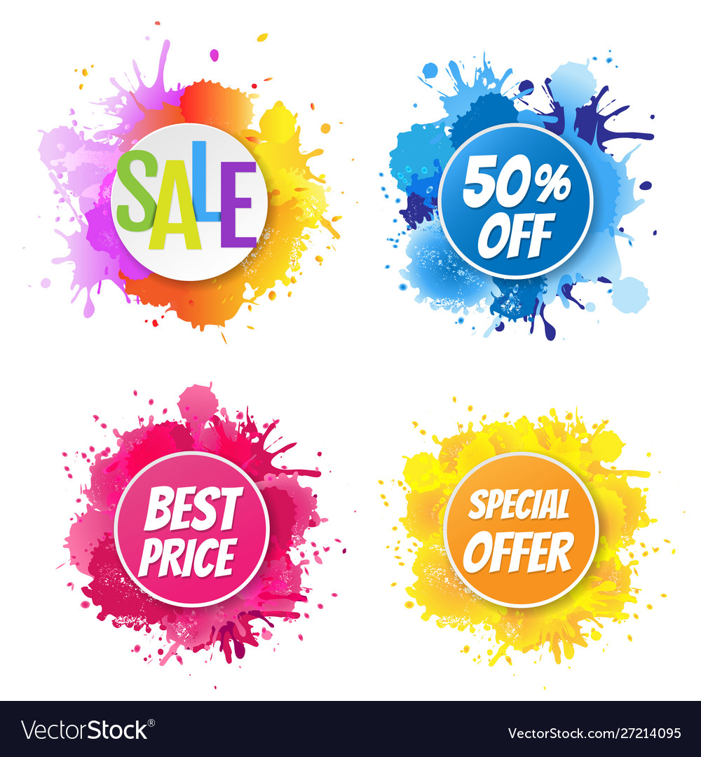 Sale banner with color text with blobs white