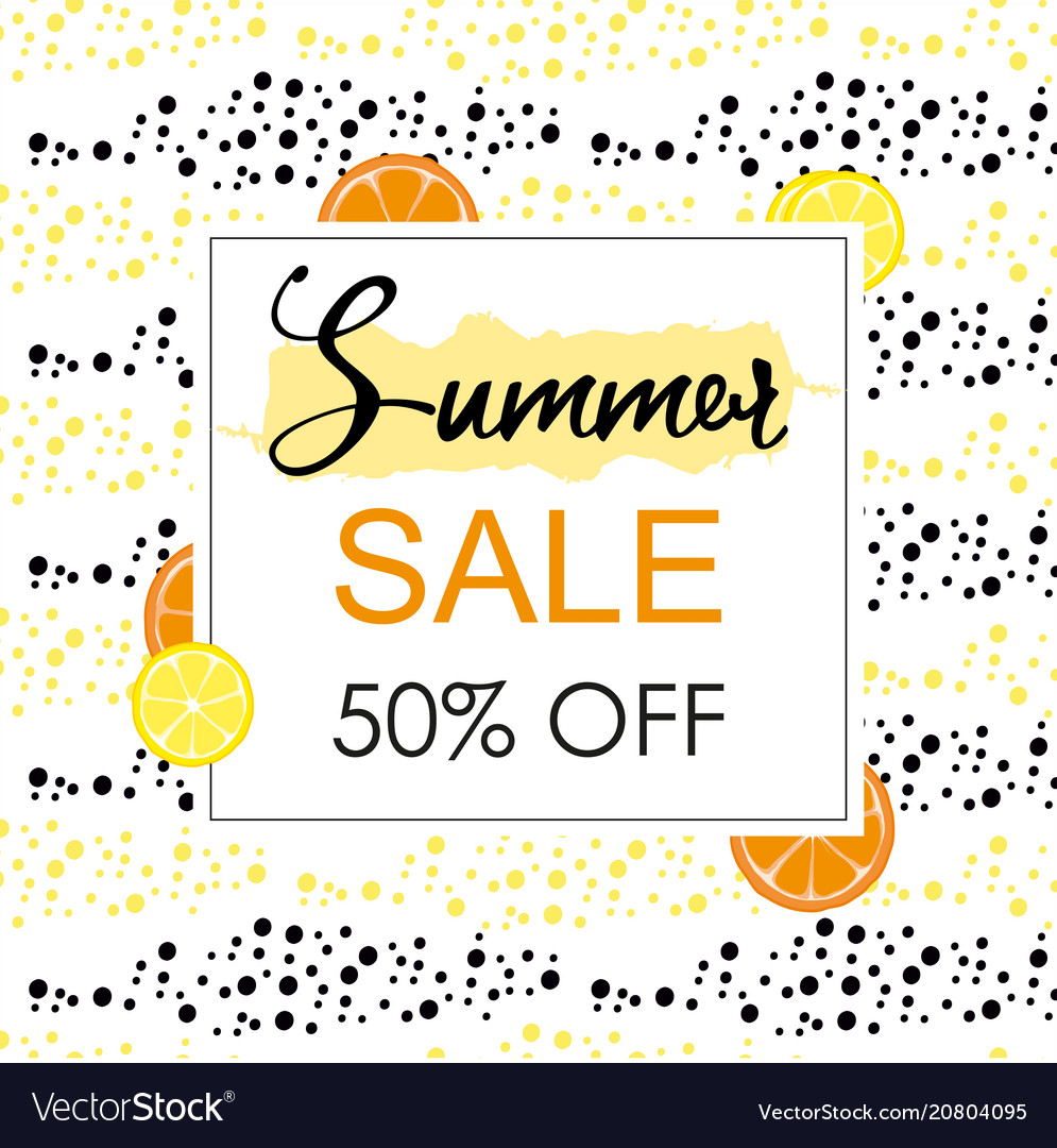 Summer sale layout banner with orange and lemon vector image