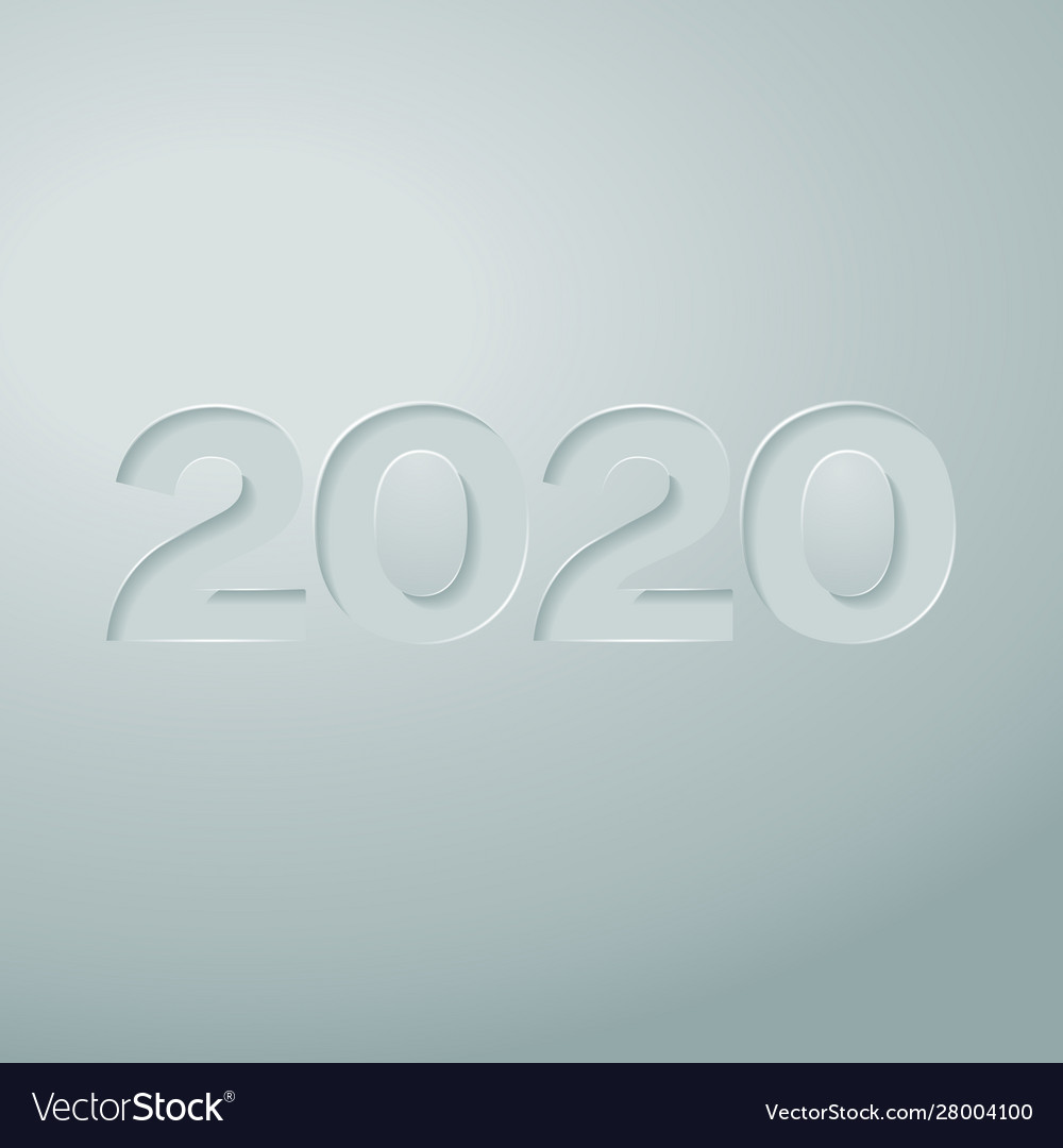 Digits 2020 cut out on paper with a gray