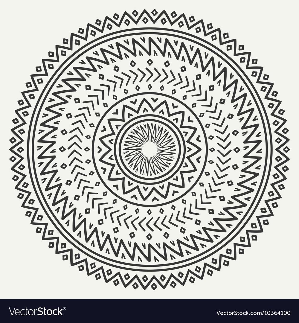 Ethnic mandala Tribal hand drawn line geometric