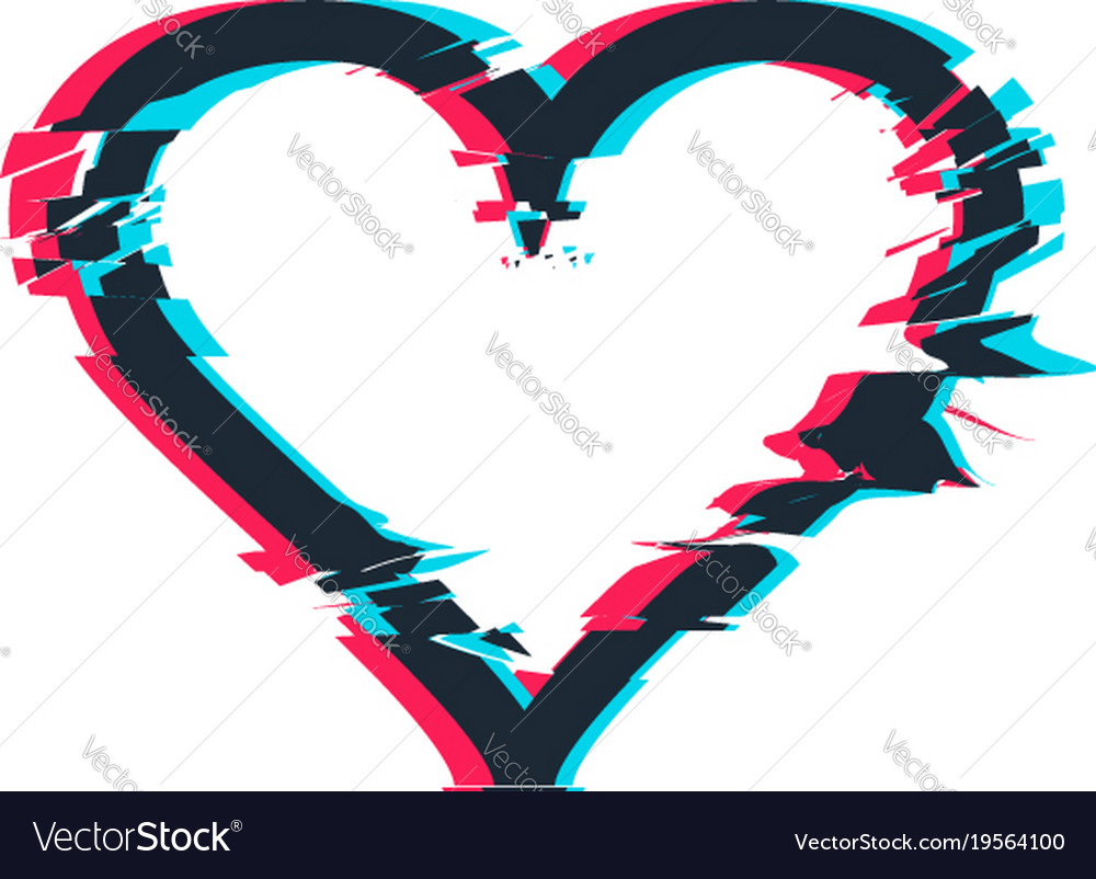 Glitch distortion frame heart Royalty Free Vector Image