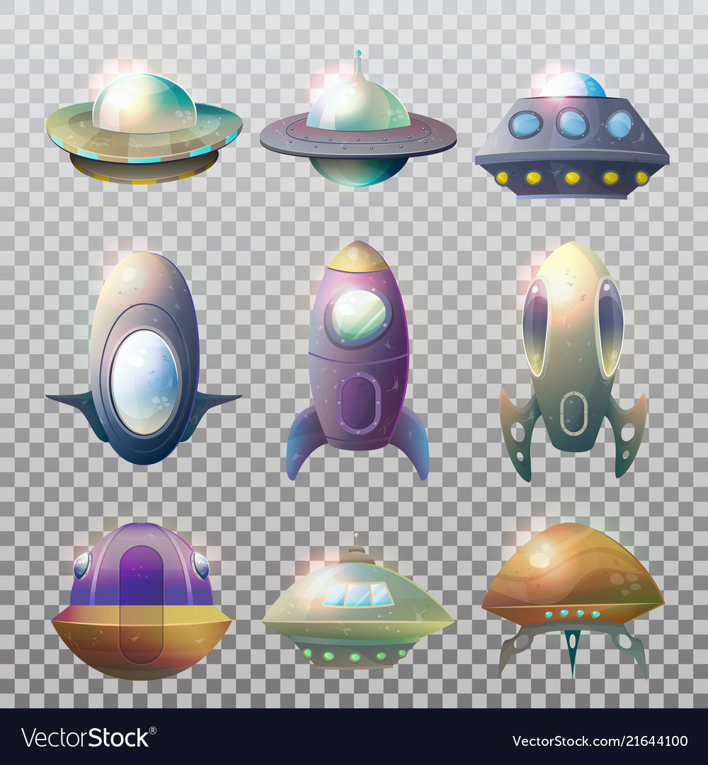 Isolated alien spaceship disk or astronaut rocket