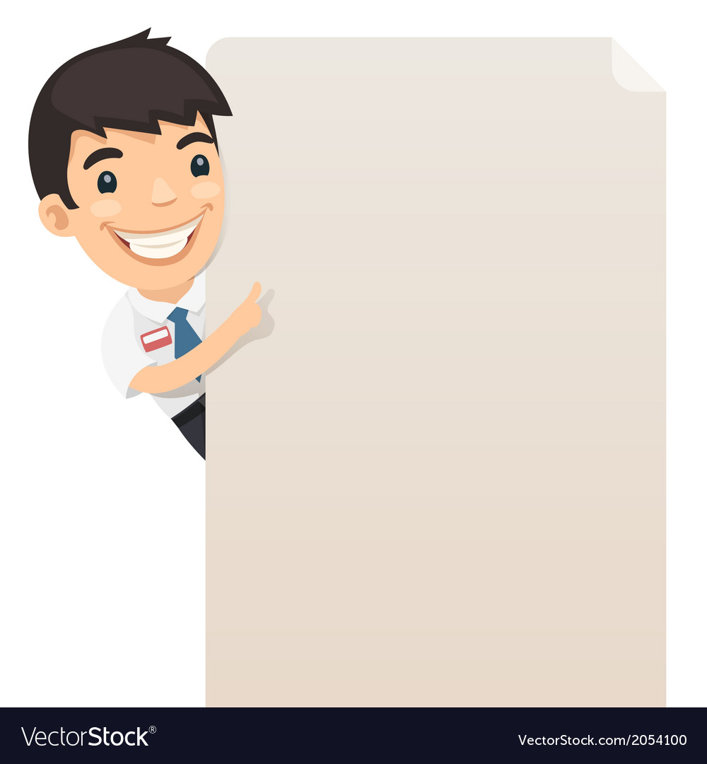 Manager Looking at Blank Poster
