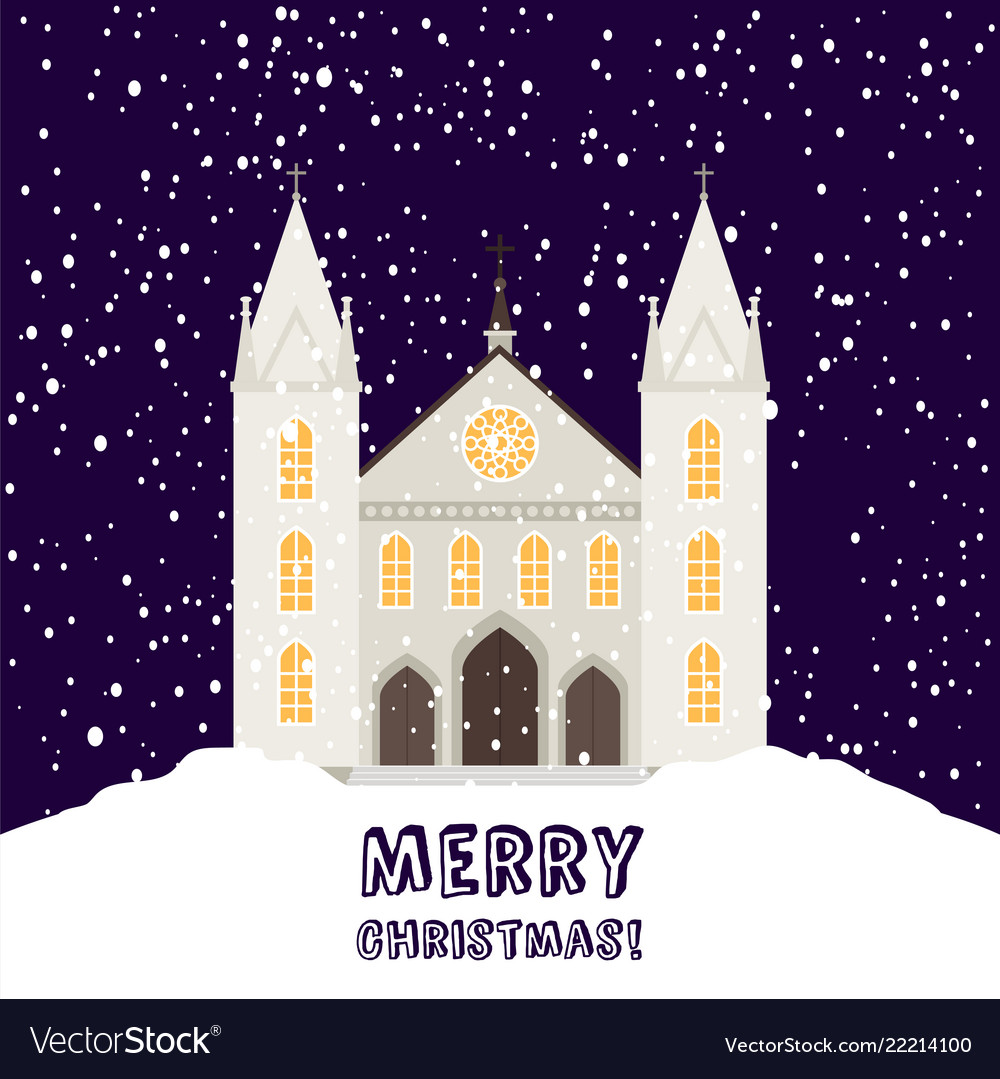 Merry christmas card with church