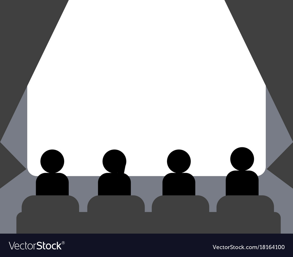 People watching movie at cinema hall vector image