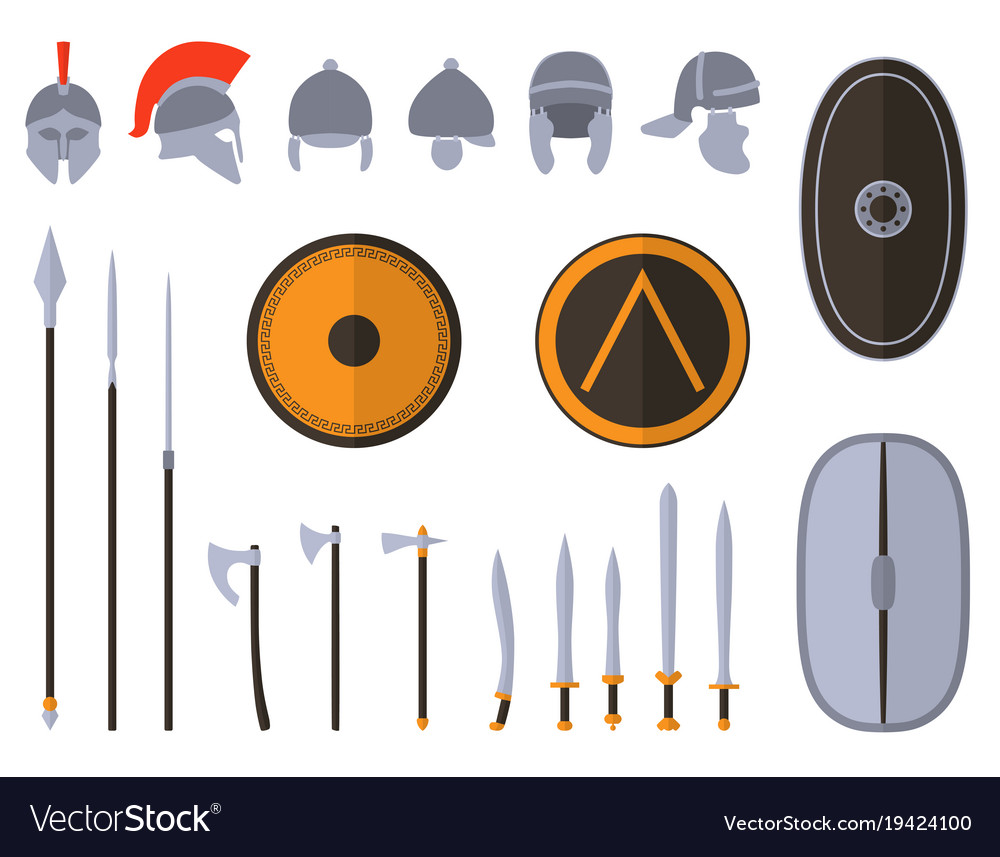 Set of ancient weapon and protective equipment