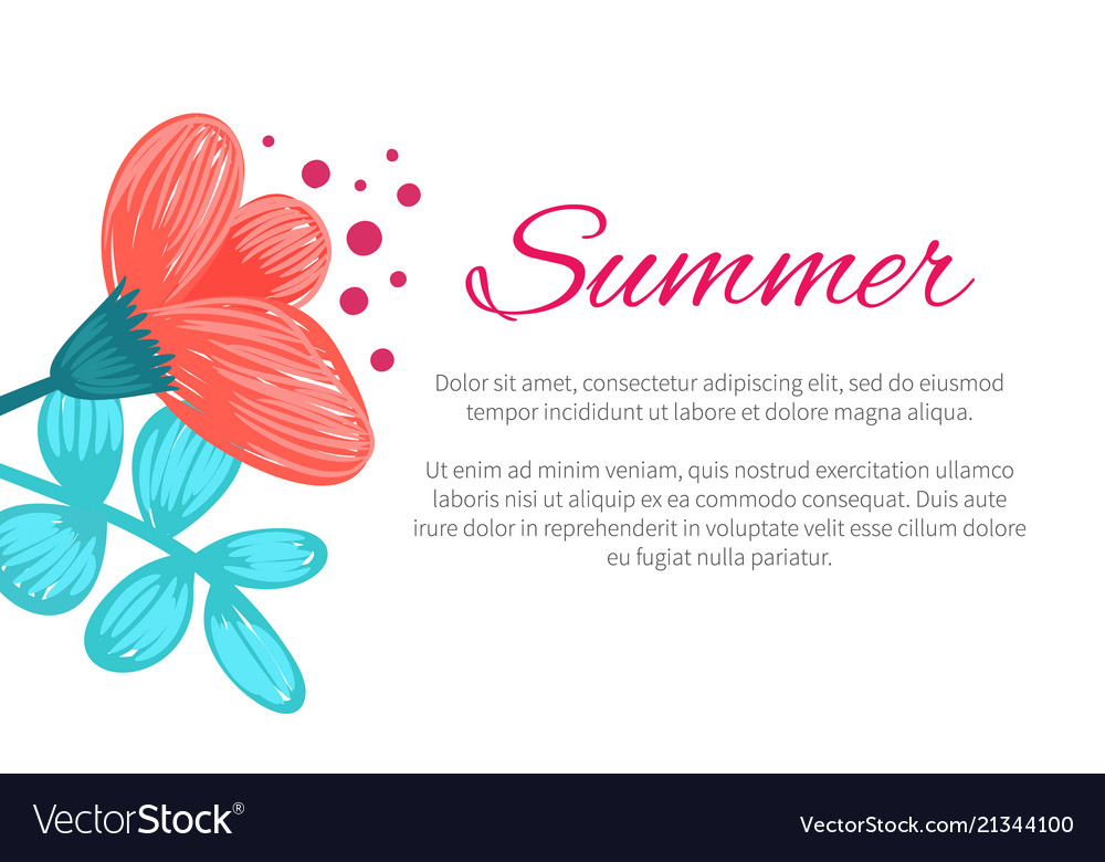 Summer poster with flower