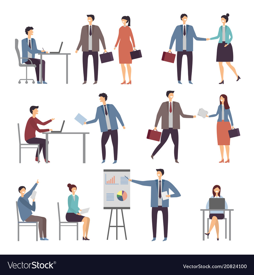 Various scene of active business people in office