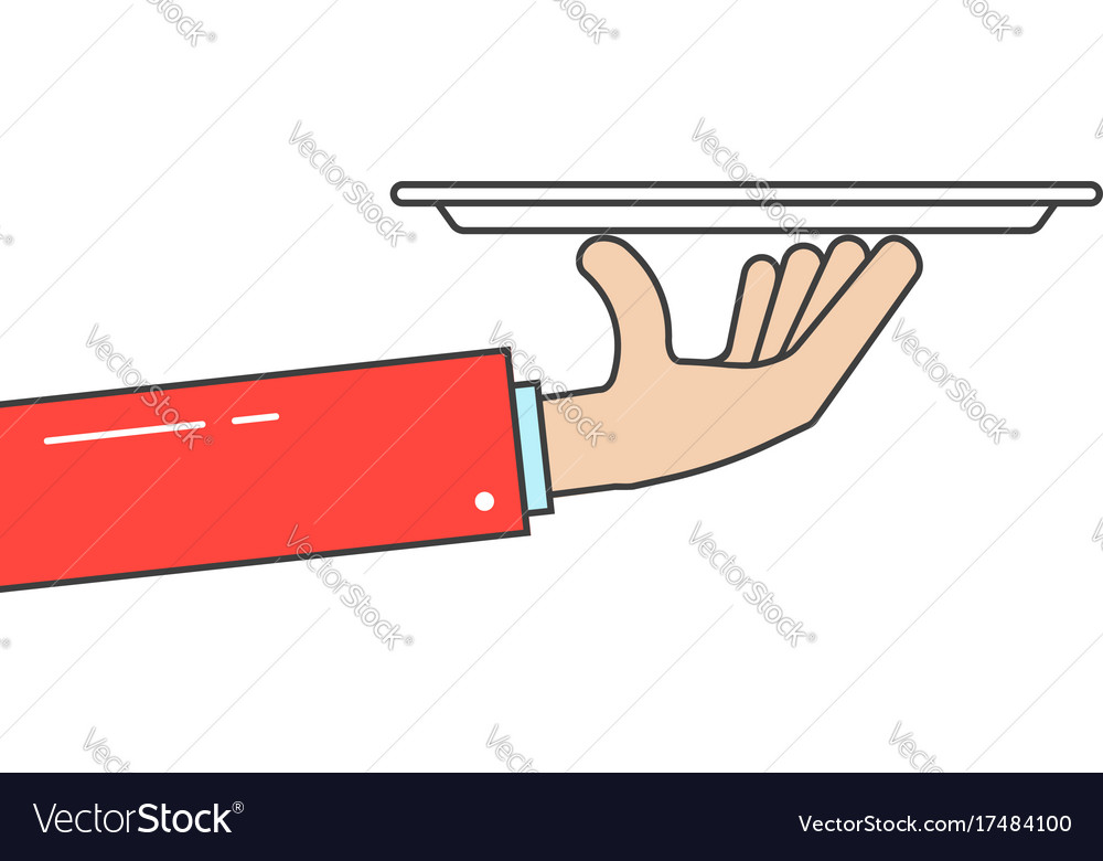 Waiter holding plate in linear hand vector image