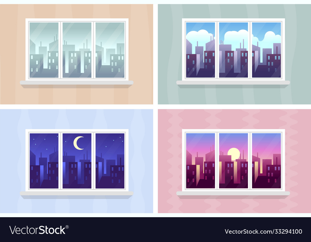 Window views morning day and night cityscape