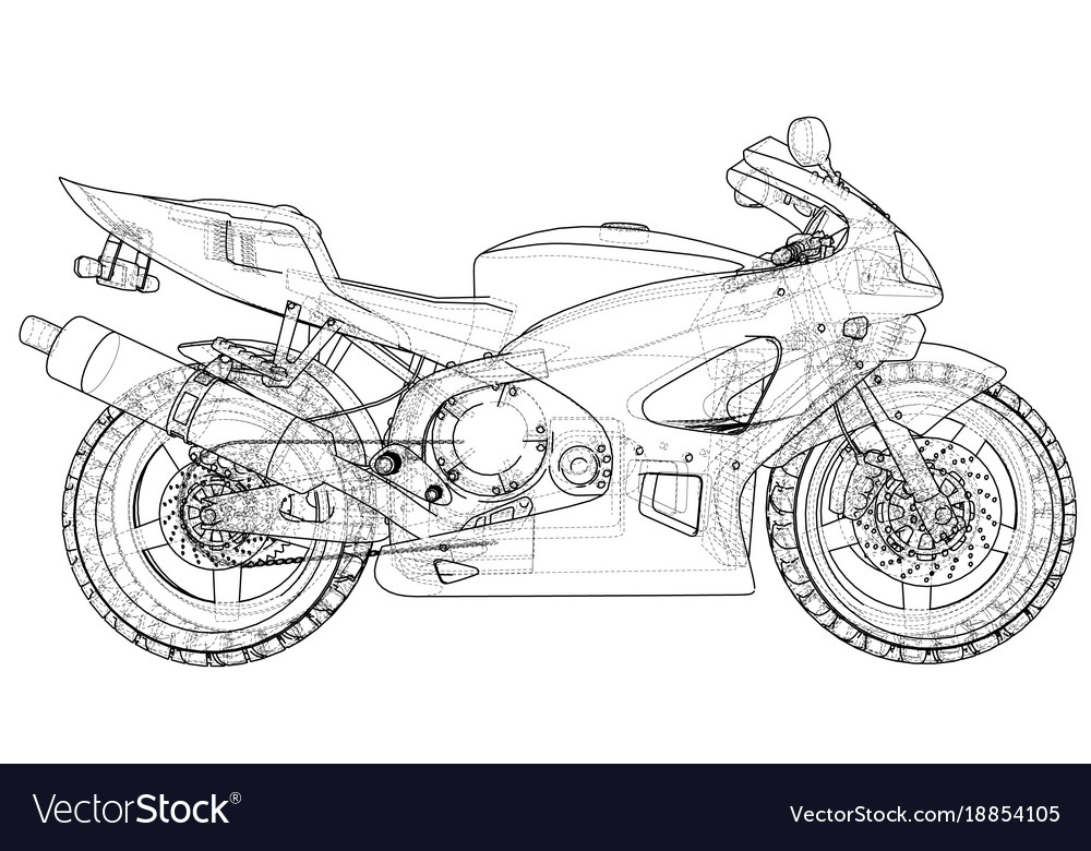 Blueprint sport bike eps10 format created vector image malvernweather Images