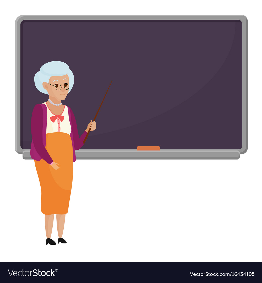 Cartoon old female teacher standing in front of