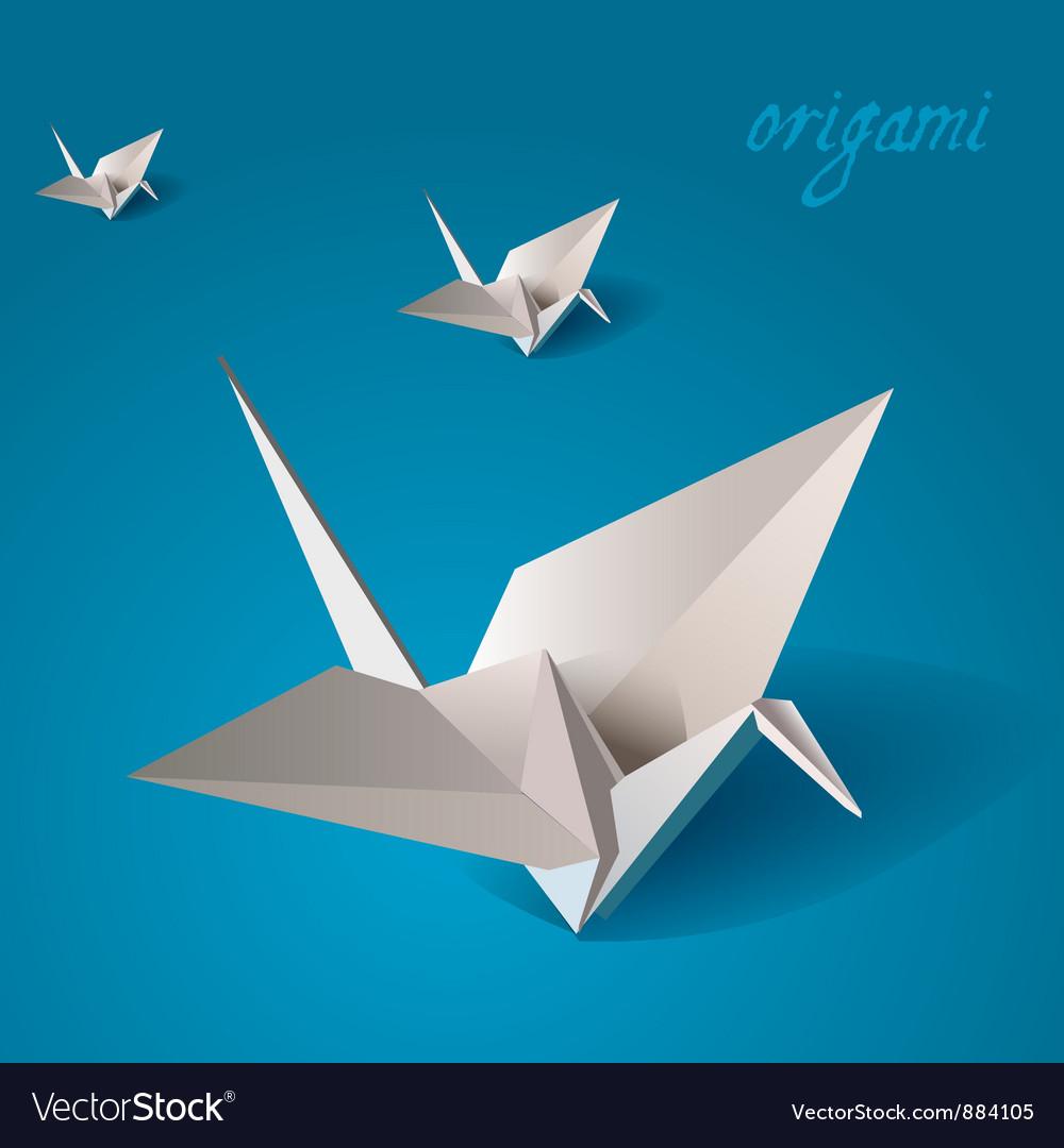Crane bird origami vector image