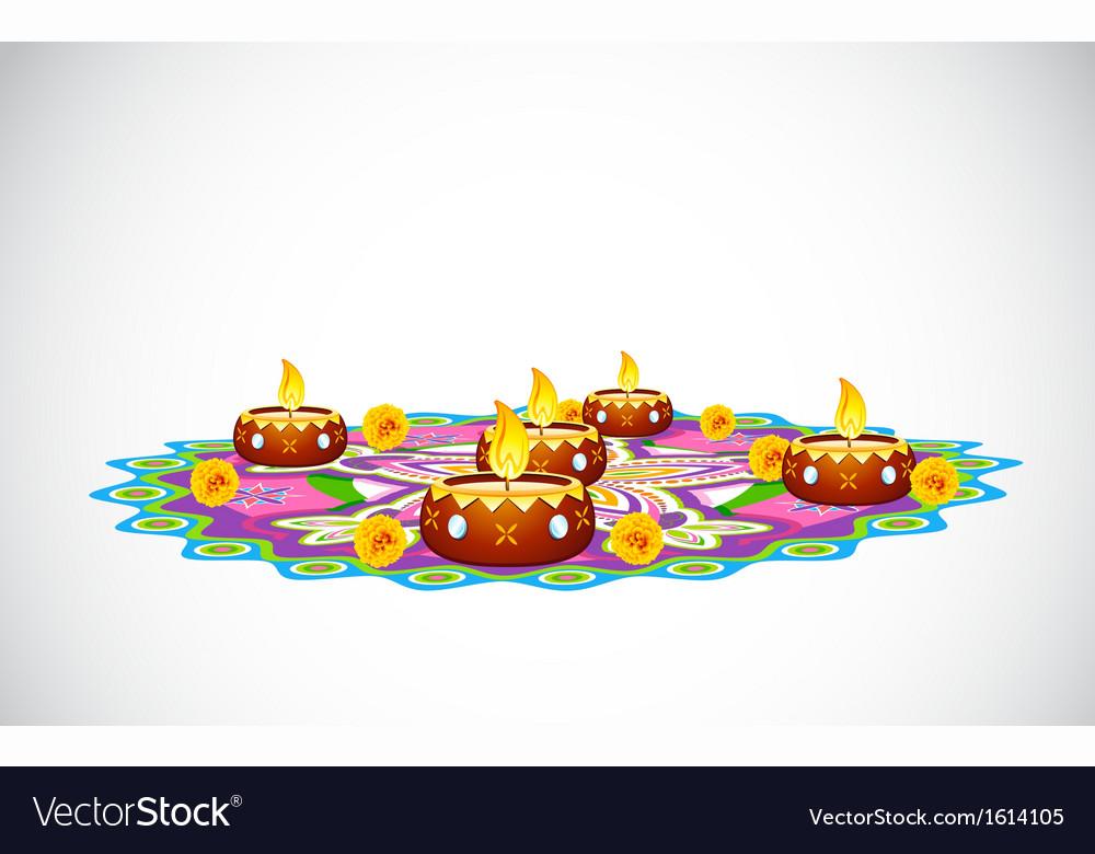 Decorated Diya vector image