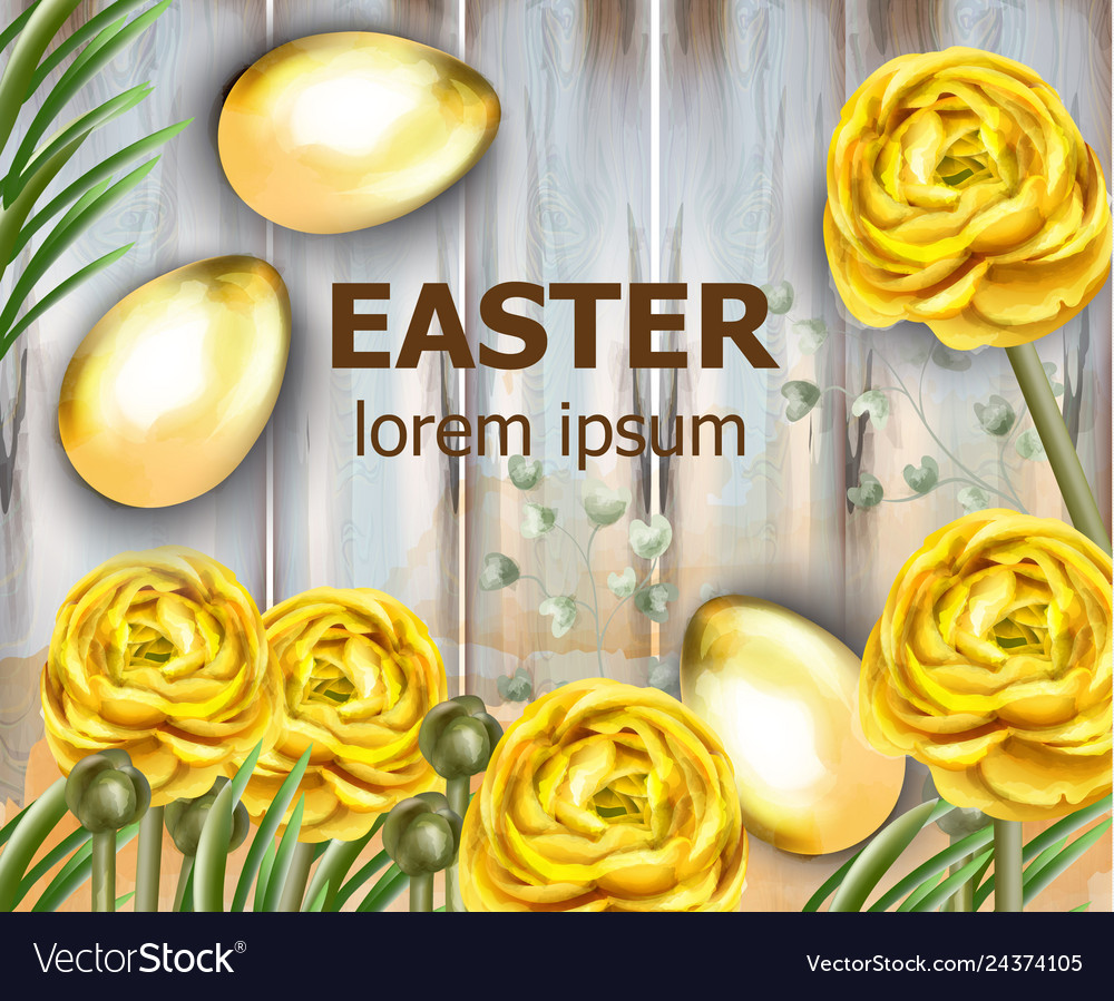 Easter card golden eggs and yellow flowers