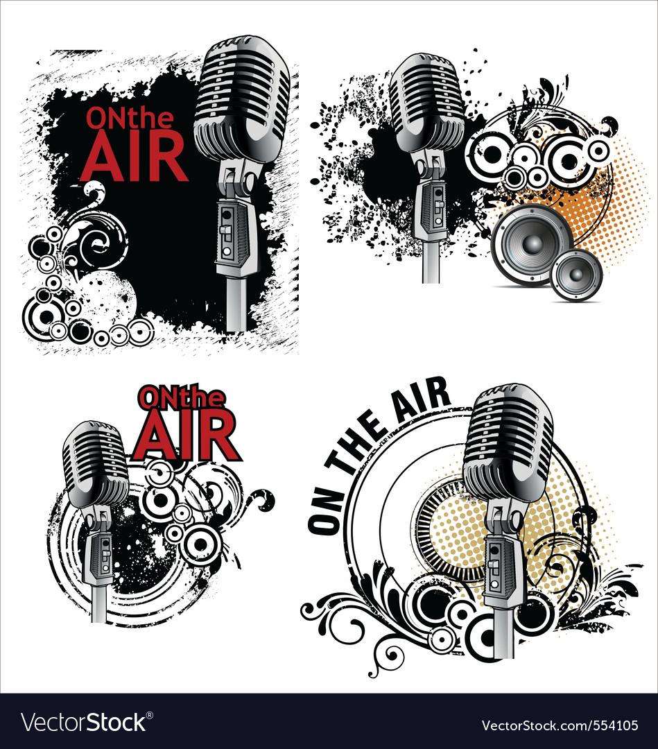 Grunge mic vector image
