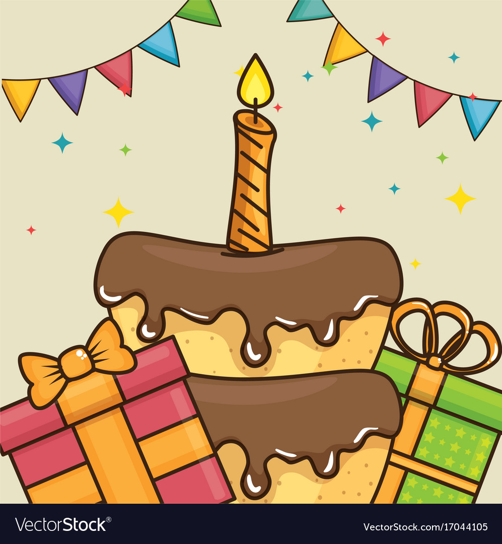 Pleasing Happy Birthday Cake And Ts Design Royalty Free Vector Birthday Cards Printable Trancafe Filternl